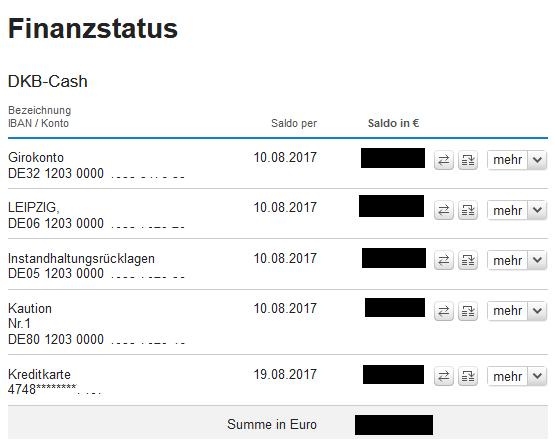 DKB Internet banking Übersicht
