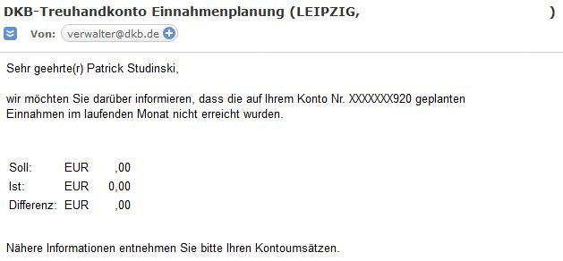 DKB Vermieterpaket - Benachrichtigung bei abweichenden Einnahmen per E-Mail