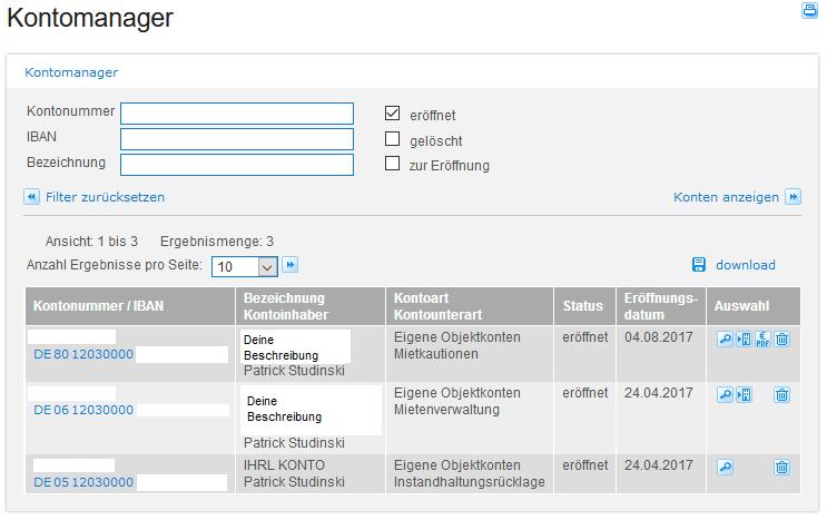 DKB Vermieterpaket - Konten selbst managen